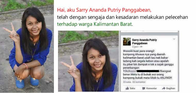 Netizen dan Warga KalBar Heboh, Akun Facebook Sarry Ananda Putriy Panggabean, Rasis