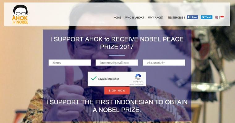 Ahok Penerima Nobel Perdamaian 2017?