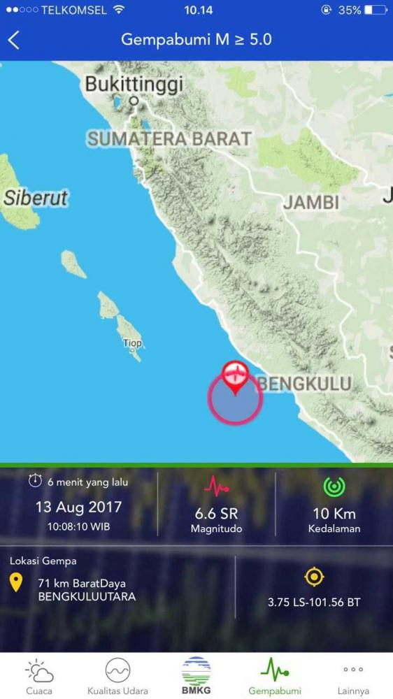 Gempa Terasa Kuat di Sumatera Barat