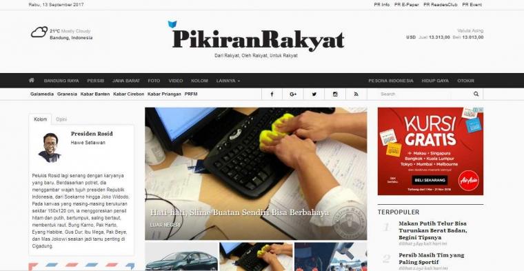 Analisis Web Berita Pikiranrakyat.com
