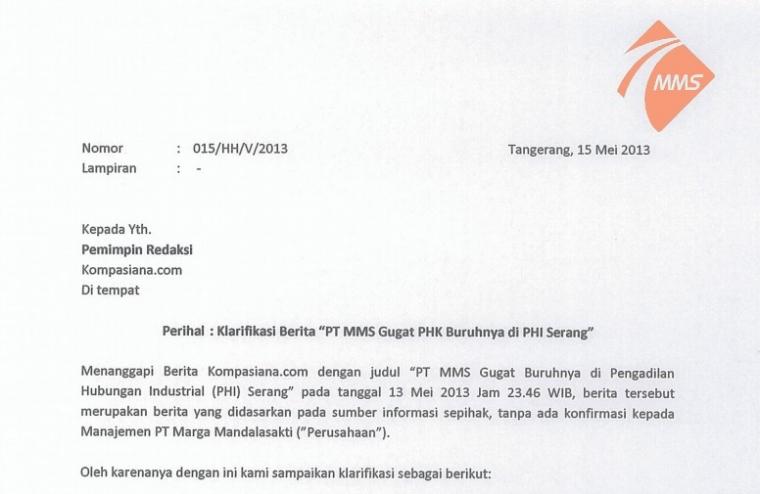 """Klarifikasi Berita """"PT MMS Gugat PHK Buruhnya di PHI Serang"""""""