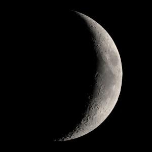 Bulan sabit di langit taman kota