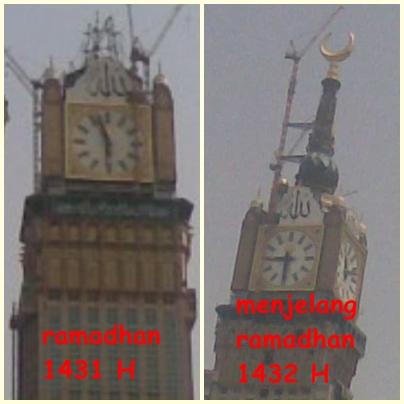 Bulan Sabit Emas di Atas Menara Jam Mekkah