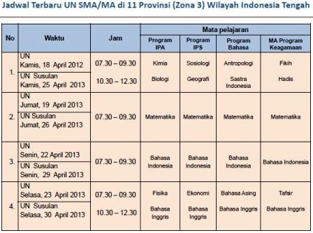 Perubahan Jadwal UN SMA/SMK 2013