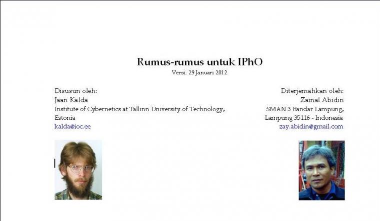 Rumus-rumus untuk IPhO