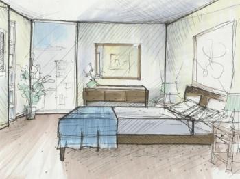 sketsa desain interior kamar tidur perspektif