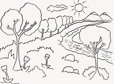 Gambar  Mewarnai Pemandangan untuk  Anak  TK  Kompasiana com