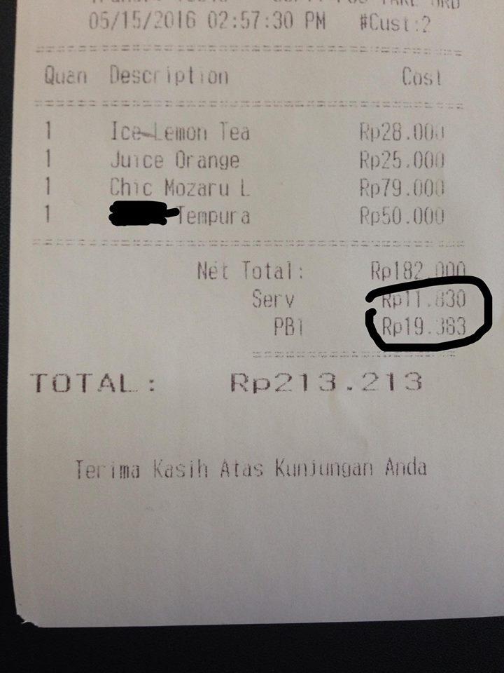 Jangan Kaget Bila Membayar Pajak Restoran (PB1) Seperti Ini