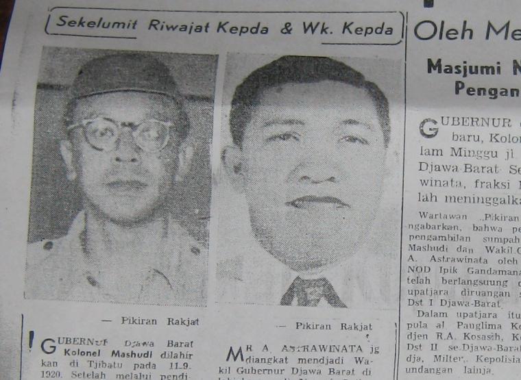 Kolonel Mashudi  Menjadi Gubernur Jawa Barat dan Kontroversi Wakil Gubernur Astrawinata pada Februari 1960