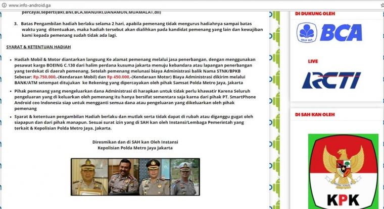 Website Penipuan Undian Berhadiah Mencatut Polda Metro Jaya