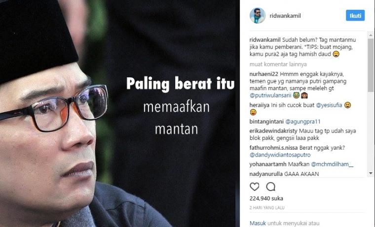 Memaafkan Mantan Versi Ridwan Kamil dan Netizen