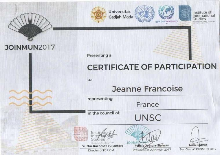 """Credited to Frederick Putra Wijaya: Position Paper as France (Double Delegate) in UNSC JOINMUN 2017"""
