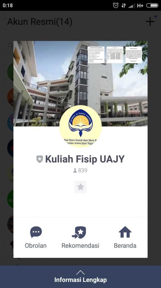 Hadirnya Official Account Kuliah Fisip UAJY