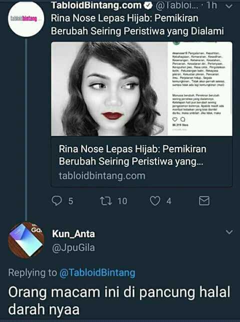 Rina Nose Lepas Hijab, Netizen Menghujat!