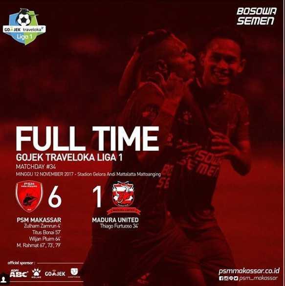 Akhir Manis Liga 1 PSM Makassar Bantai Madura United