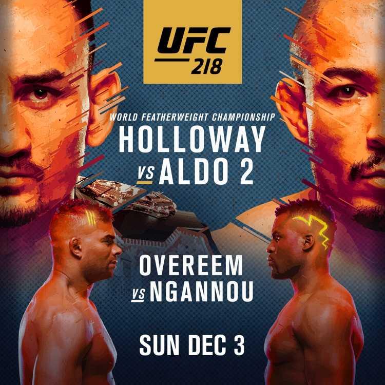 UFC 218: Max Holloway vs Jose Aldo 2, Francis Ngannou vs Alistair Overeem