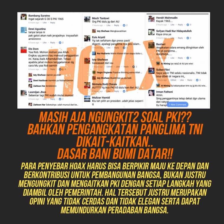 Penyebaran Isu Hoaks Presiden dan Panglima TNI Sebagai PKI, Bisa Dijerat Tindak Pidana