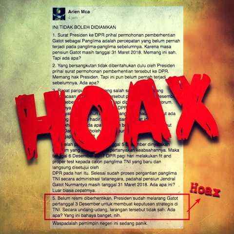 Fitnah dan Hoaks di Medsos Iringi Proses Pergantian Panglima TNI