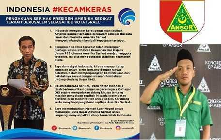 GP Ansor Pematangsiantar Dukung Presiden Joko Widodo Kecam Keras Amerika Serikat