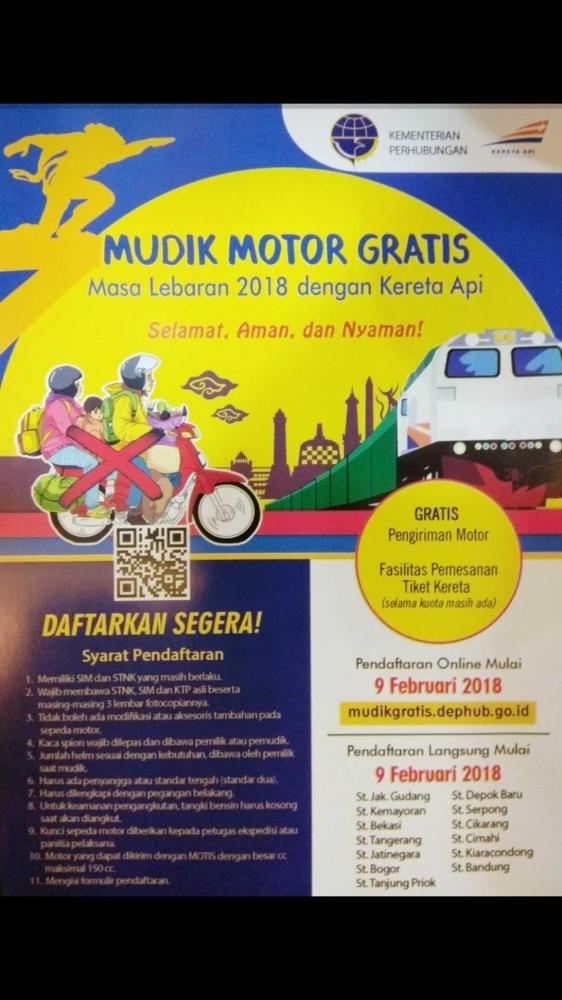 Dirjen Perkeretaapian Buka Pendaftaran Angkutan Motor Gratis Mudik Lebaran 2018