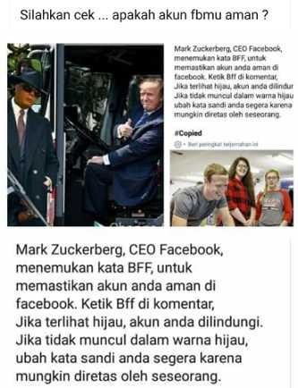 """Hoaks Ketik """"BFF"""" di Facebook Berubah Menjadi Hijau Tanda Akun Anda Aman"""
