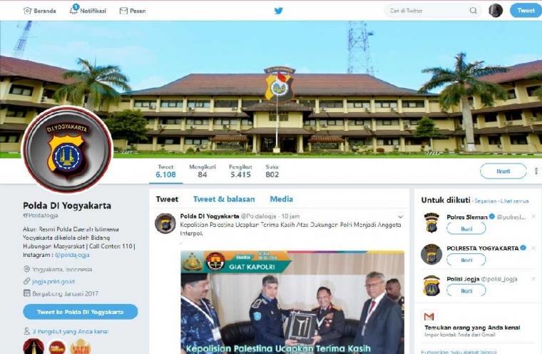 Analisis Pengelolaan Media Sosial Twitter dan Instagram Polda D.I Yogyakarta