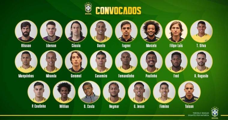 23 Pemain Ini Resmi Bela Brazil di Piala Dunia 2018