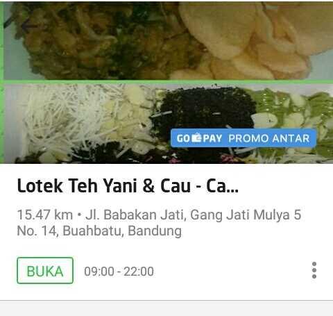 Antara Go- Food dan Lotek Teh Yani