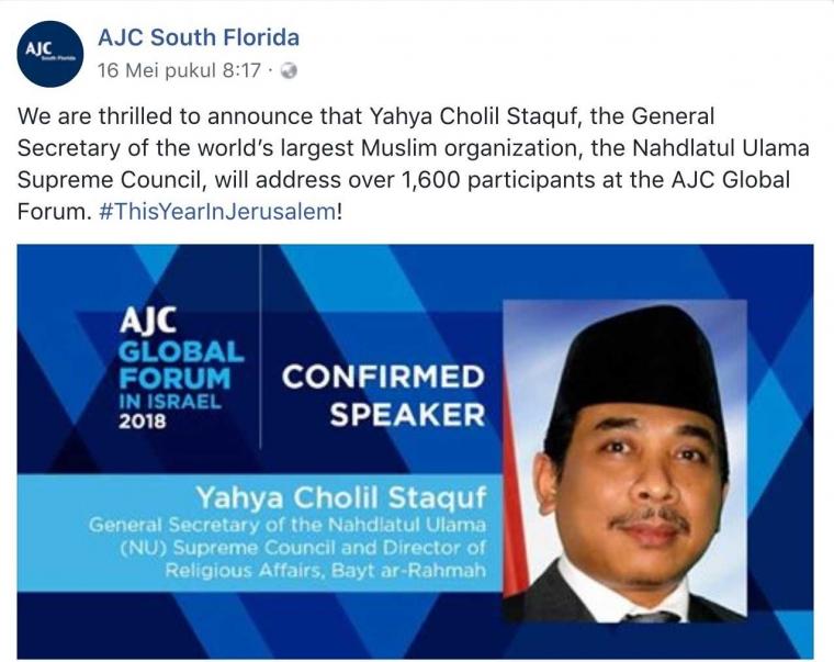 Melalui Yahya Cholil Staquf, Seharusnya NU Bisa Jembatani Perdamaian Israel-Palestina