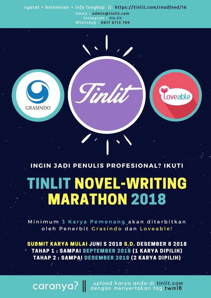 Marathon Menulis Novel Tinlit 2018! Ikuti untuk Kesempatan Diterbitkan!