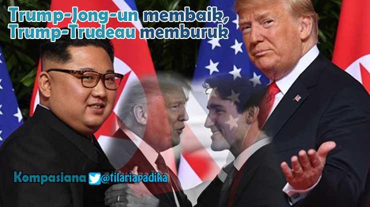 Hubungan Trump-Kim Jong-un Membaik, Trump-Trudeau Memburuk