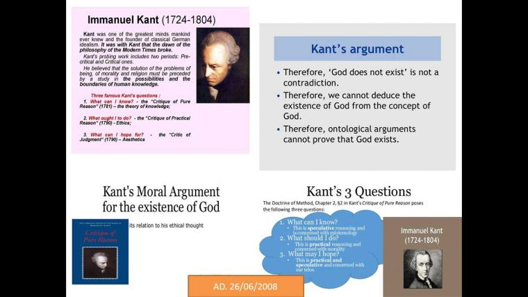 immanuel kant and the concept of god Kant had been interested in reconciling a teleological outlook with the development of modern science since such early works as the universal natural history and theory of the heavens of 1755 and the only possible basis for a demonstration of the existence of god of 1763.