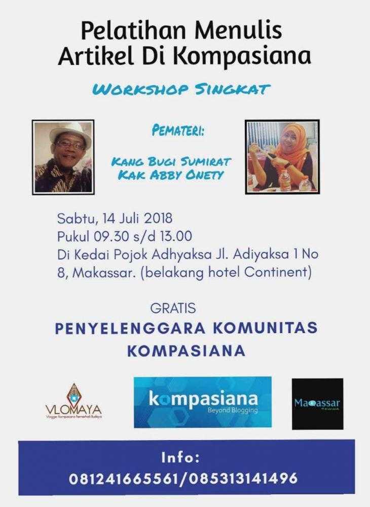 Hai Makassar, Yuk Cara Tahu Cara Menulis Artikel di Kompasiana bersama Kompak Tawwa!