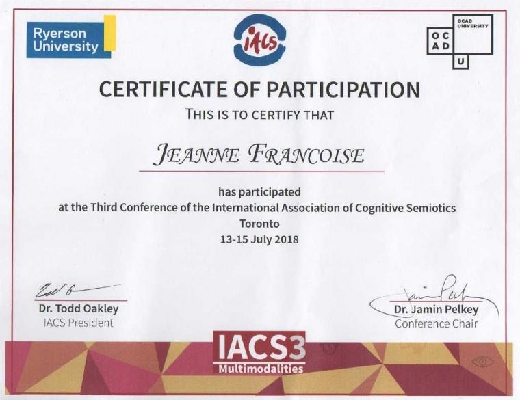 International Conference of Cognitive Semiotics in Ryerson University Toronto Canada 13-15 July 2018