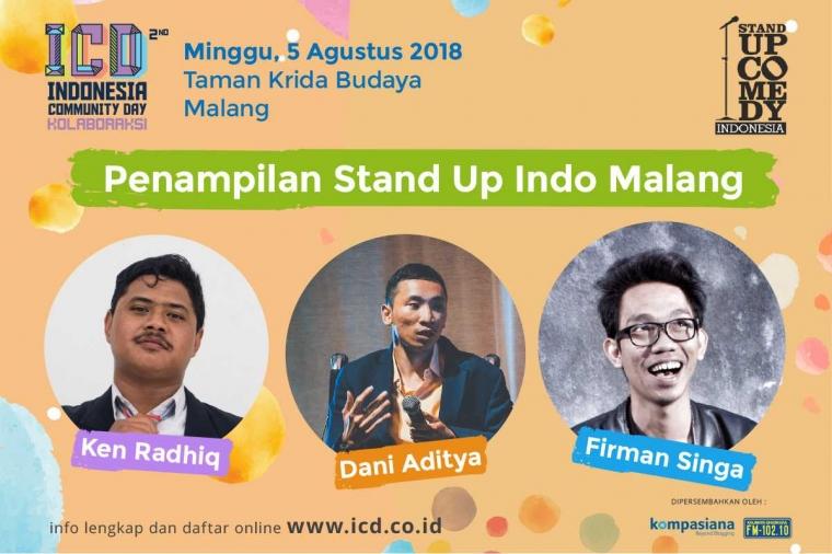 Ketawa Bareng 3 Komika Stand Up Comedy Indo Malang di ICD 2018, Yuk Lah!