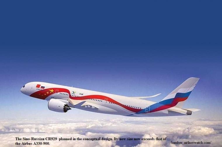 Pesawat Penumpang Berbadan Besar CR929 Patungan Sino-Rusia