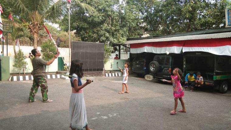 Ajak Anak-anak Olahraga, Babinsa: Cara Hindari Ketergantungan Gadget