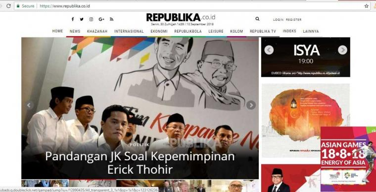 Wajah Republika Setelah Erick Thohir Jadi Ketua Timses Jokowi-Ma'ruf Amin