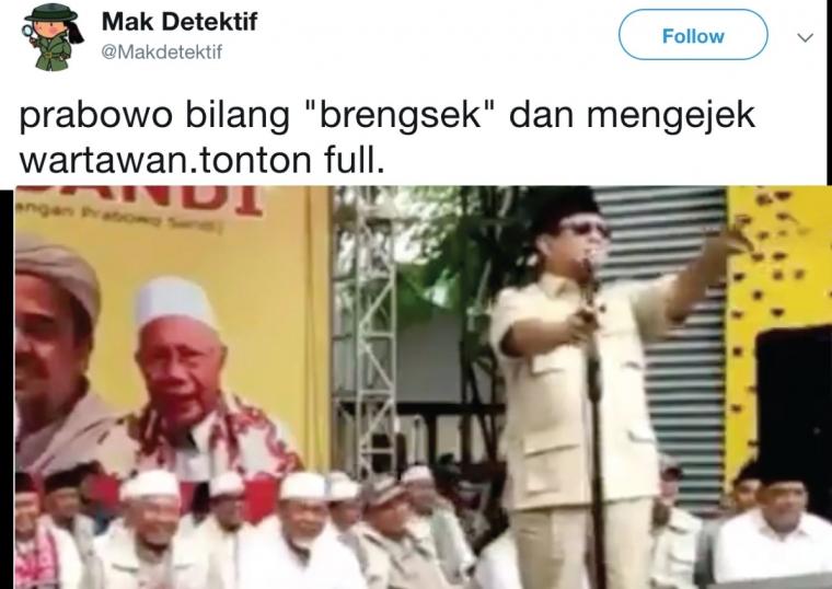 Sudah Saatnya Wartawan Kompak Memboikot Prabowo