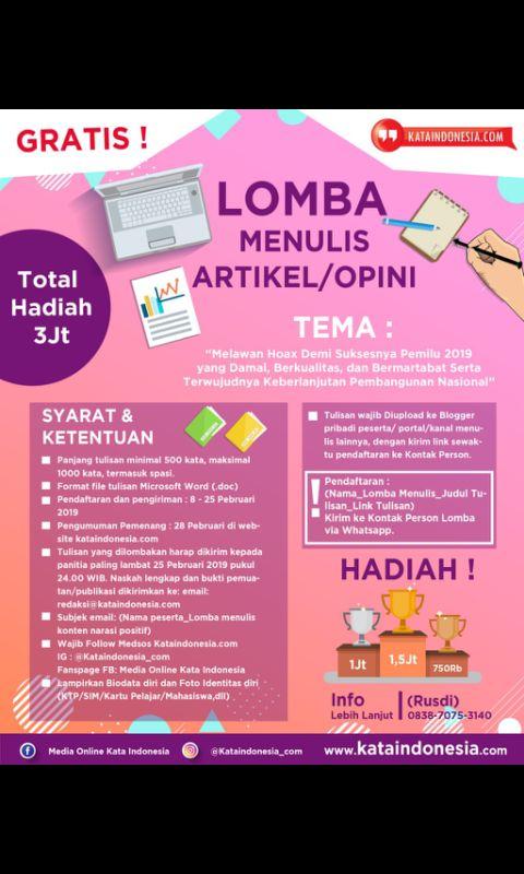Media Kata Indonesia Selenggarakan Kompetisi Netizen, Total Hadiah 10 Juta!