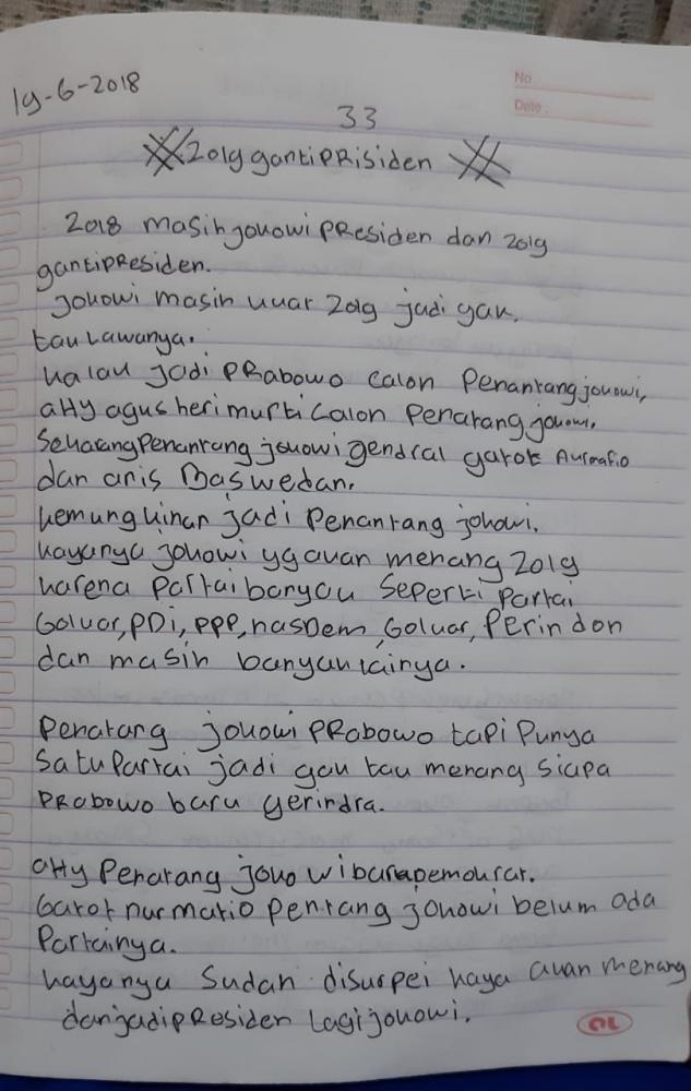 Jokowi Bakal Menang Menurut Prediksi Anak SD (MI) Ciamis