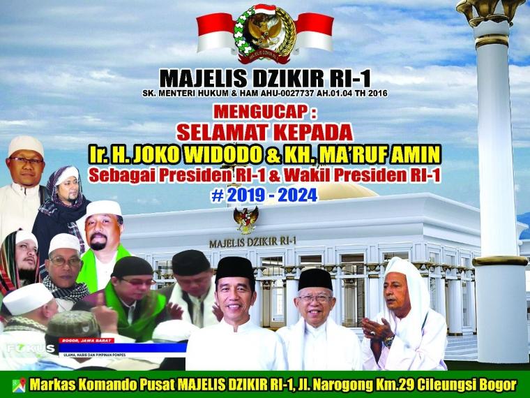 Ucapan Presiden Majelis Dzikir RI-1 untuk Bapak Jokowi-KH Ma'ruf Amin