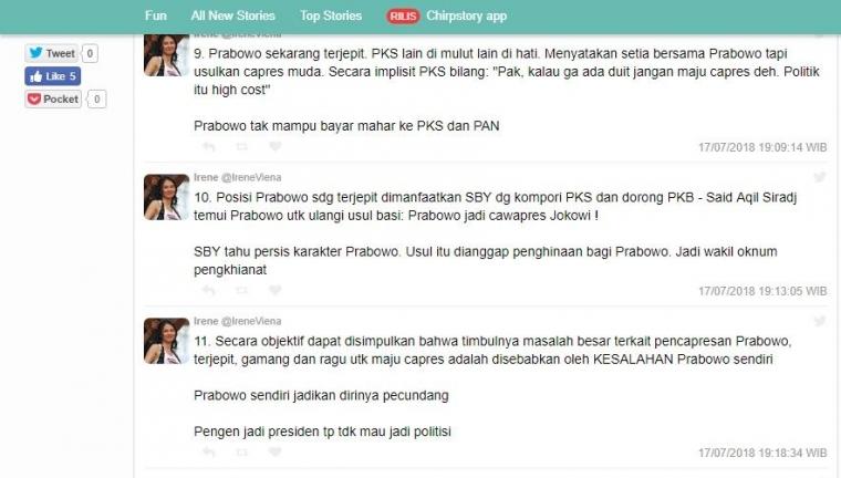 Akun @IreneViena Bak Ular Beracun di Kubu Prabowo-Sandi?