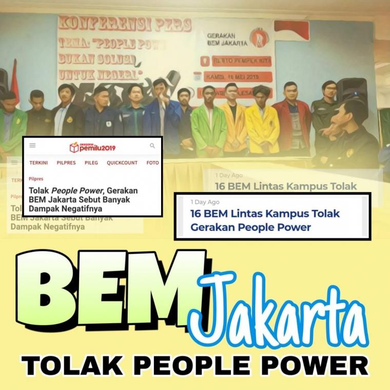 """Tercerahkan, BEM Jakarta Tolak """"People Power"""""""