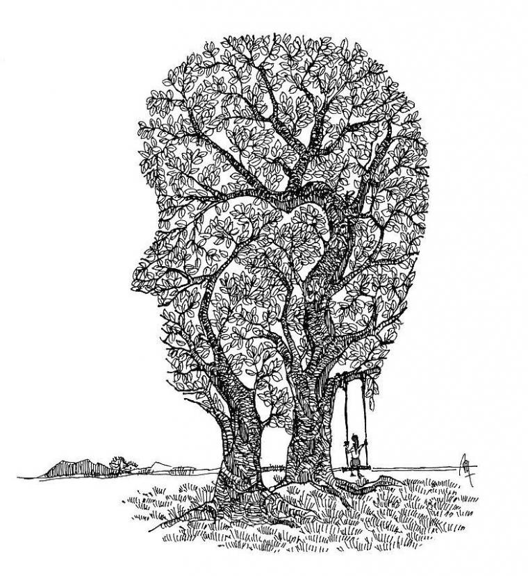 Puisi   Di Antara Dua Pohon