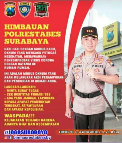 Virus Korona Dijadikan Modus Kejahatan ... Kapolrestabes Surabaya Beri Himbauan
