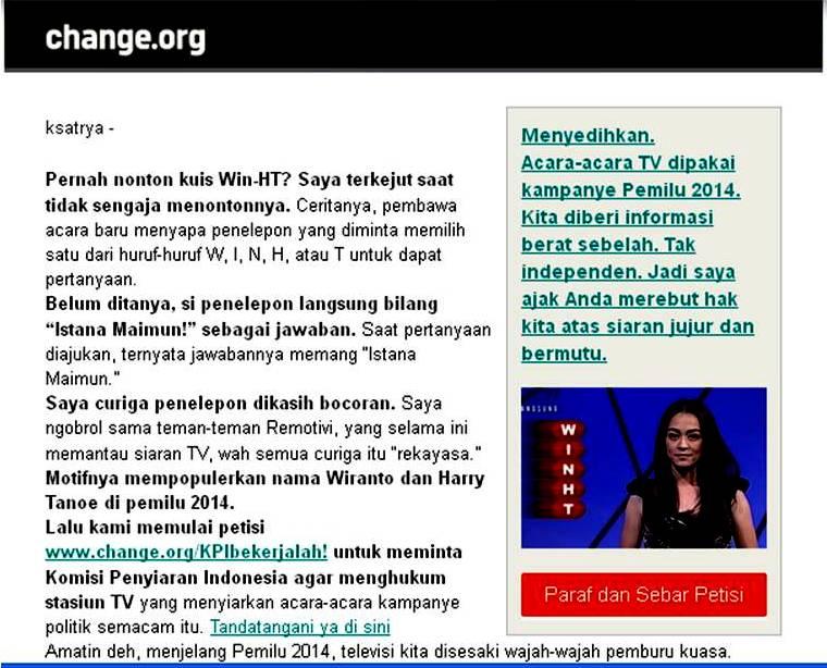 """Teguran dan Petisi untuk Menghukum """"Kuis Kebangsaan"""" RCTI"""