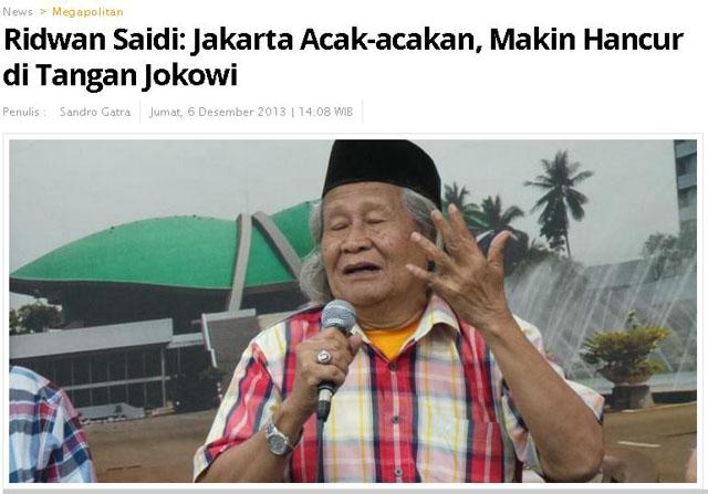 "Karena Jokowi, Ridwan Saidi ""Ditembaki"": Di Mana Keadaban Demokrasi?"