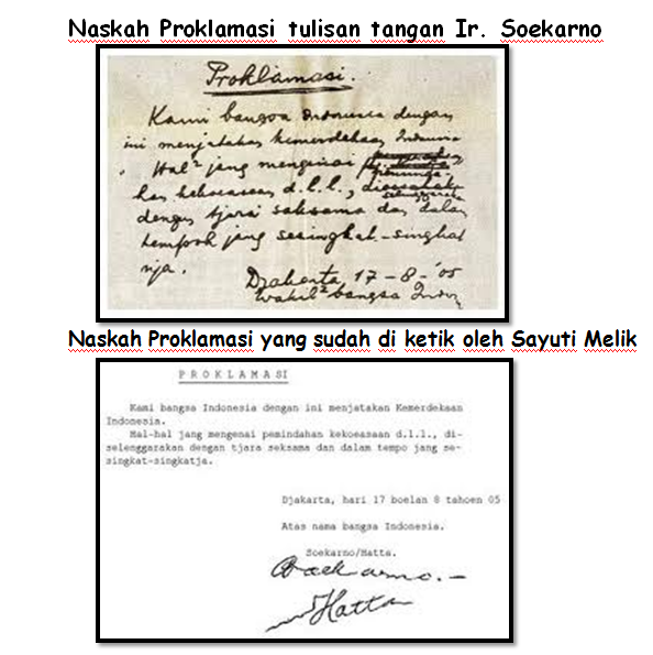 Perbedaan Naskah Proklamasi Tulisan Tangan Soekarno dengan Hasil Ketikan Sayuti melik