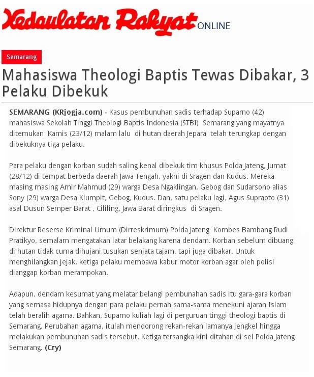 Omega Suparno, Calon Pendeta Tewas Terbunuh